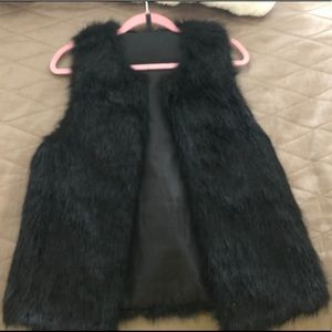 Jackets & Blazers - Black fur vest